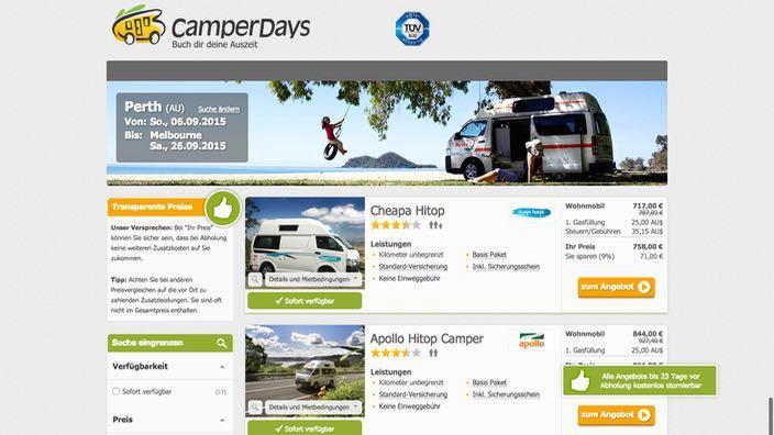 CamperDays.de Suchergebnisse
