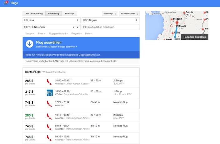 Google Flight Preisübersicht Lima - Bogota
