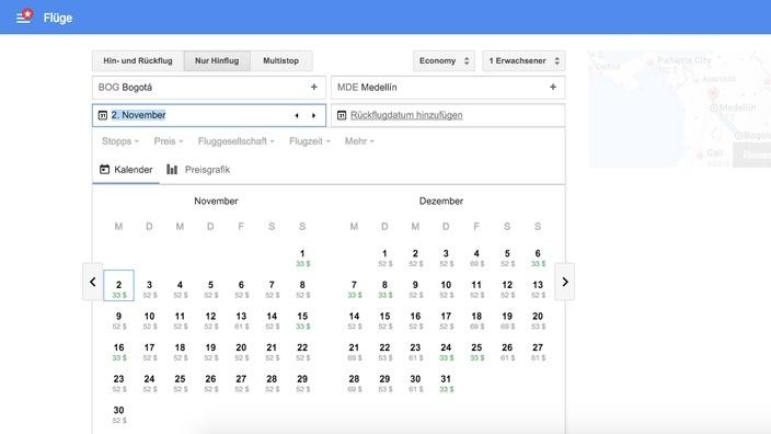 Google Flights Suche Bogotá - Medellín