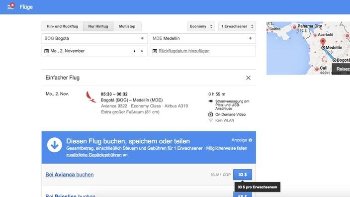 Google Flights Suche Bogota - Medellin