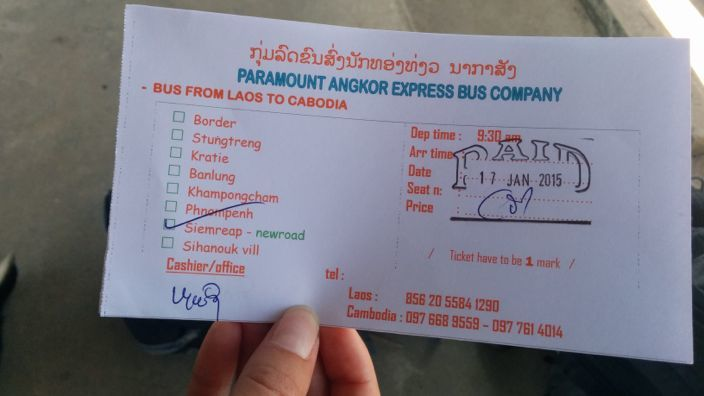 Ticket Laos to Cambodia