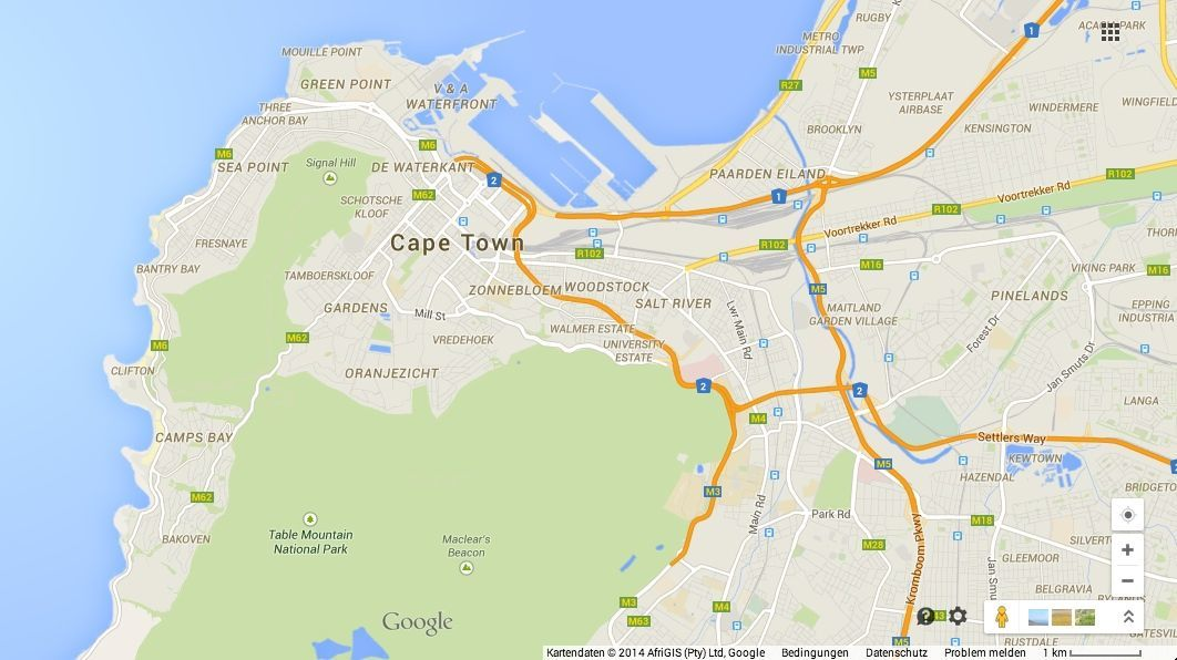 Google Maps Cape Town