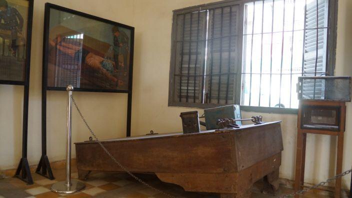 Torture Rack S-21 Museum Tuol Sleng Phnom Penh Cambodia